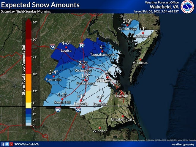 This map from the National Weather Service shows th e snow totals different parts of Virginia will get from this weekend's coastal storm. The Tri-City area should expect a 1-2 inch accumulation of snow before the storm clears out Sunday afternoon.