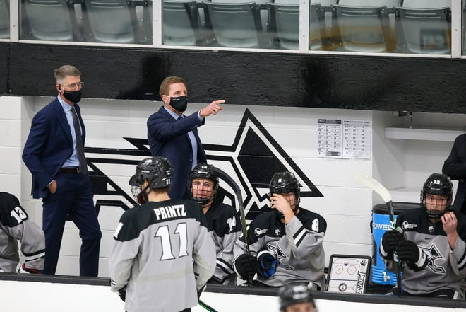 Providence College coach Nate Leaman makes a point during a December game against Boston College at Schneider Arena.