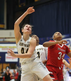 Kent State junior forward Lindsey Thall puts up a shot during the third quarter of Saturday's game against Miami at the M.A.C. Center.