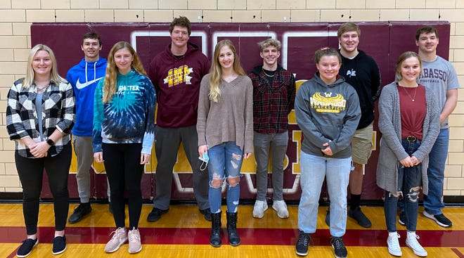 Pictured are the WHSSnow Queen and King candidates, front from left: Cassidy Irlbeck, Allison Jesse, Sarah Klann, Mataya Nelson, and McKenna Rohlik. Back:Mason Dallenbach, Jaxon Fischer, Gabriel Martin, Samuel Rudenick, and Hunter Taylor.