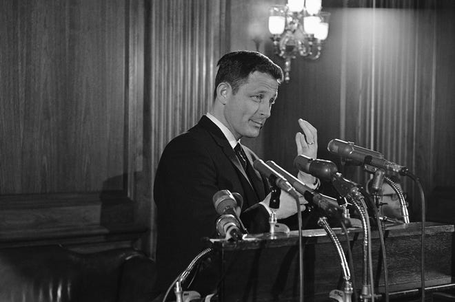 """Sen. Birch Bayh, D-Indiana, holds a news conference Feb. 10, 1967, to comment on the addition of the 25th amendment to the U.S. Constitution. The amendment details what is to be done if the President becomes unable to perform the duties of his office. Bayh, sponsor of the amendment, told reporters that it provides """"a solution to a constitutional gap that has continued for nearly two centuries."""""""