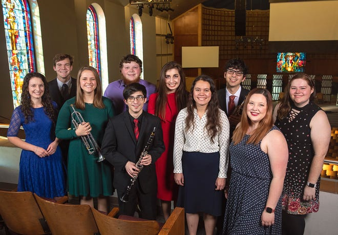 Ten students will headline the 47th annual Concerto-Aria concert in Raley Chapel's Potter Auditorium Sunday, Feb. 14 Front row, left to right: Laura Stewart, Katie Krempl, Cristian Celis, Rachel Darvin and Sarah Smith. Back row, left to right: Devon Armstrong, Chase Davis, Abigail Ekrut, Alex Benito and Harmony DeWees.