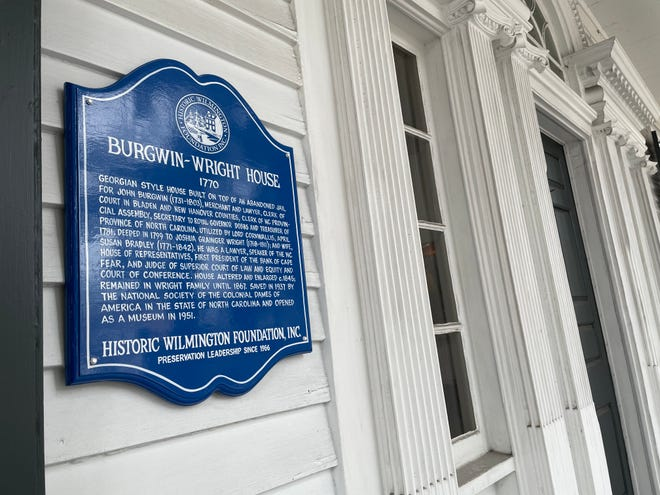 The Burgwin-Wright House is the first in Wilmington to have the new sapphire Historic Wilmington Foundation plaque, which designates it as a structure that is 200 years or older. A second sapphire plaque at the home has been installed to denote it as the site of the city's first colonial jail.
