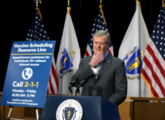 "After admitting last week that his administration was ""late"" in setting up a call center to help process vaccine appointment requests, Gov. Charlie Baker on Friday detailed the new 2-1-1 option to make an appointment or get put on a call-back list when a slot becomes available at a mass vaccination site. [Jonathan Wiggs/Boston Globe/Pool]"