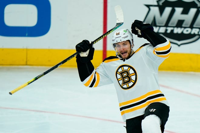 Boston's Sean Kuraly celebrates after scoring a goal in the third period of Friday's game.