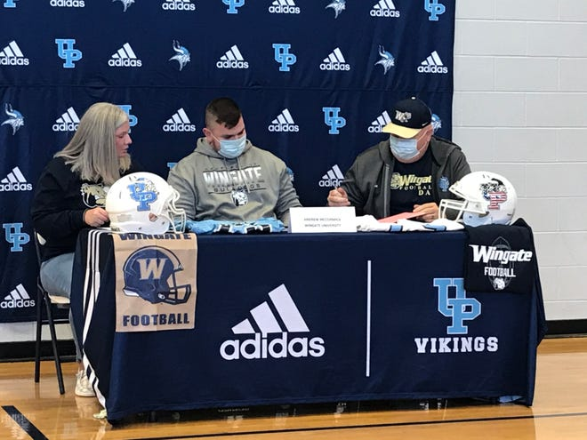 Union Pines offensive lineman Andrew McCormick will play college football at Wingate University. Alongside his parents, Andy and Wendy, McCormick inked his commitment on National Signing Day.