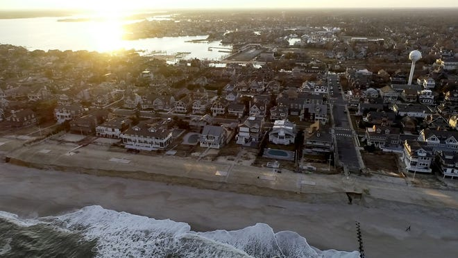 Washed away dunes are shown along the Bay Head coastline Friday, February 5, 2021.