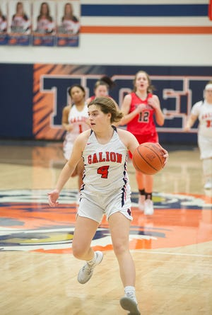 Galion's Lexi Rush drives down the court in transition.