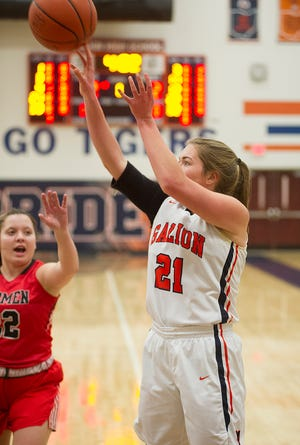 Galion's Natalee Perkins shoots from close range.