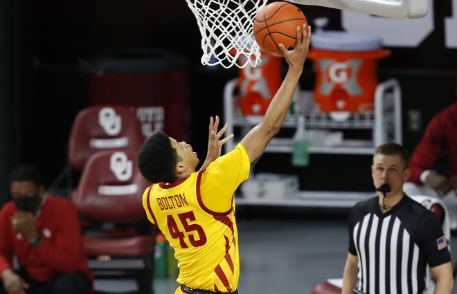 Iowa State guard Rasir Bolton (45) shoots against Oklahoma during the first half Saturday.
