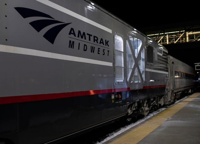 An Amtrak train arrives at the Troy Transit Center in Troy on Feb. 5, 2021.