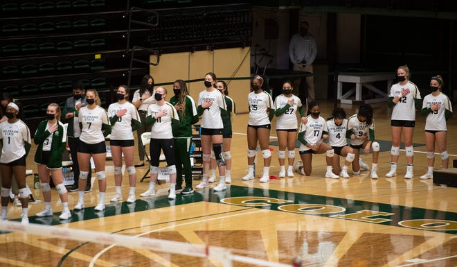 Colorado State players kneel during the national anthem before the match at Moby Arena at Colorado State University in Fort Collins, Colo. on Friday, Feb. 5, 2021.