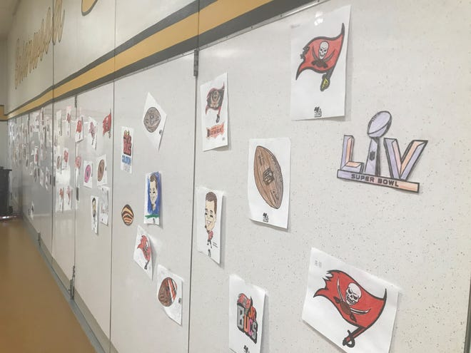 Students at Briarwood Elementary School in Camden posted pictures they colored on the cafeteria wall.