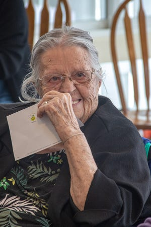 In this Feb. 2020 photo, Margaret Scruggs Oilar is pictured on her 99th birthday. Oilar turns 100 on Feb. 9, 2021.