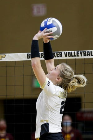 Purdue setter Hayley Bush (2) sets the ball during the third set of an NCAA women's volleyball game, Friday, Feb. 5, 2021 at Holloway Gymnasium in West Lafayette.