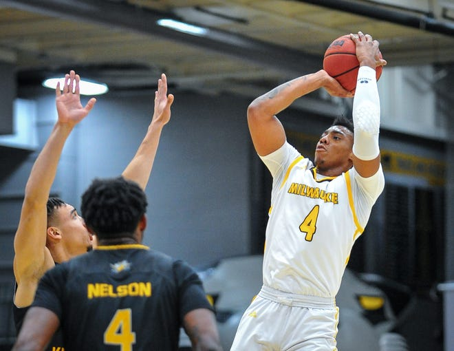 UWM guard DeAndre Gholston, shown in a previous game, had 20 points and eight rebounds Saturday.