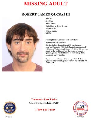 Robert James Qucsai III was last seen entering Cummins Falls State Park in Tennessee at around 1:30 p.m. on Feb. 3, 2021.