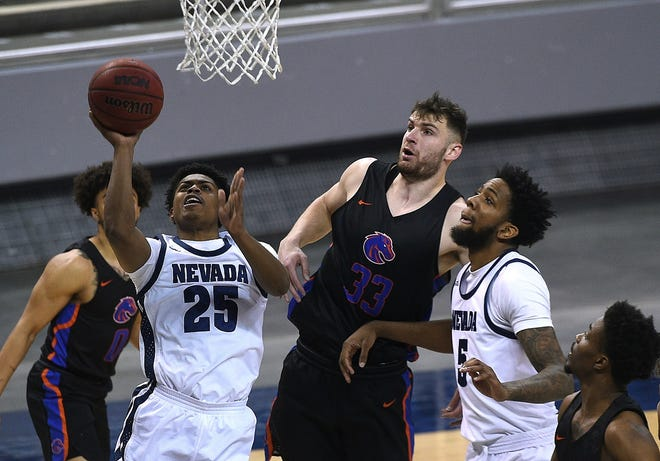 Nevada's Grant Sherfield shoots against Boise State at Lawlor Events Center on Friday night.