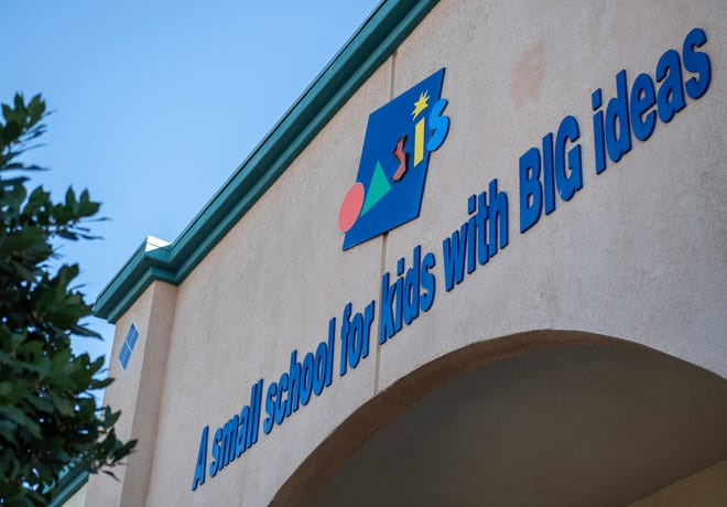 The entrance of Oasis Charter Public School in Salinas, Calif., on Friday, Feb. 5, 2021.
