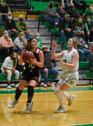 Ballinger's Jenna Battle makes a move past Wall's Loren Pepper during their basketball game Friday, Jan. 15, 2021, in Wall.