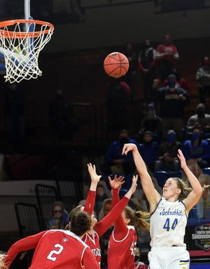 South Dakota State's Myah Selland shoots a basket during a game against South Dakota on Friday, Feb. 5, at Frost Arena in Brookings.