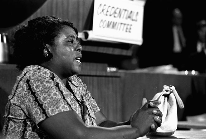 In this Aug. 22, 1964 photograph, Fannie Lou Hamer, a leader of the Freedom Democratic party, speaks before the credentials committee of the Democratic national convention in Atlantic City, in efforts to win accreditation for the largely African American group as Mississippi's delegation to the convention, instead of the all-white state delegation. Miss., honoring her.