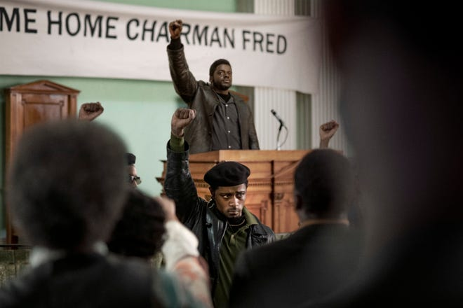 """Daniel Kaluuya, top, stars as Chairman Fred Hampton, leader of the Chicago chapter of the Black Panther Party,  and LaKeith Stanfield portrays William O'Neal, the man tasked with bringing Hampton down, in """"Judas and the Black Messiah."""""""