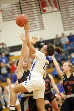 Boonville senior Jodie Bass drives to the basket in the second half Saturday against Southern Boone in the championship game in the Southern Boone Tournament in Ashland.
