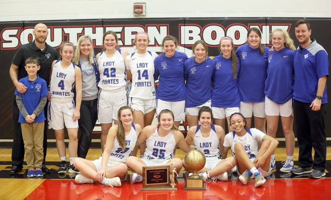 The Boonville Lady Pirates basketball team captured the championship in the Southern Boone Tournament Saturday night by beating the Southern Boone Lady Eagles 53-33. The win improved the Lady Pirates record to 17-2 on the season with two wins now on the season against SBC.