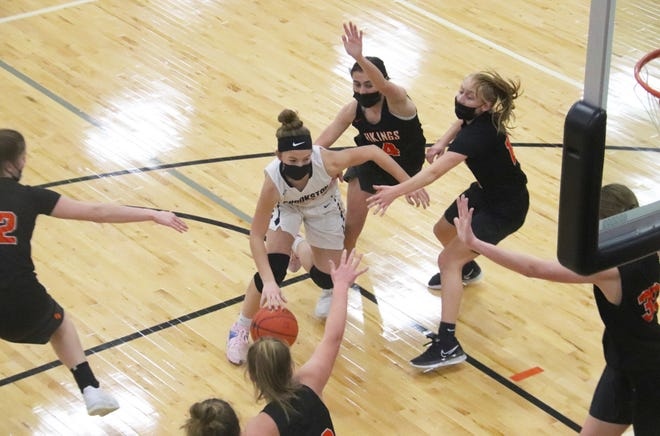 Halle Winjum and the Crookston girls' basketball team defeated Pelican Rapids, 49-34, Saturday in Pelican Rapids.