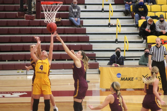 Emma Carpenter shoots a layup during the first half of Minnesota Crookston's 72-64 loss to Minnesota Duluth Saturday afternoon.