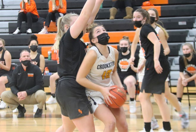 Emma Boll tries to score in a game against Pelican Rapids on Feb. 6. Boll and the Crookston girls' basketball team fell 44-37 to Fergus Falls Friday night.