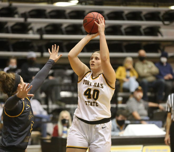 FHSU's Jessie Sallach puts up a mid-range jumper against Central Oklahoma on Saturday at Gross Memorial Coliseum.
