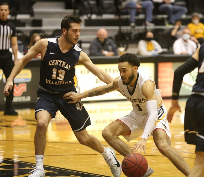 FHSU's Quinten Rock dribbles down the lane during the Tigers' 84-82 win over UCO on Saturday.