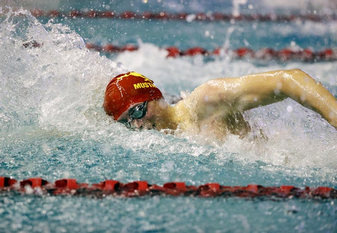Coronado's Nathan Vigil swims in the 100-yard freestyle during the Region I-5A boys swimming championship Feb. 6 at the Pete Ragus Aquatic Center.