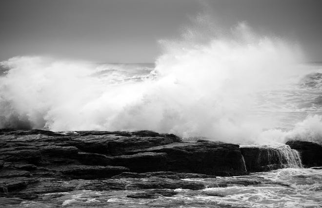 Waves crash on the rocks along the Ocean Drive in Newport during a winter storm Feb. 1. [BARBY BROWN/CONTRIBUTED PHOTO]