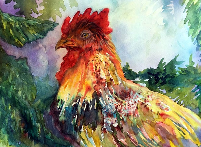 """Among the 20 artworks on display at the Oneida Public Library's Visions 20/20 is the watercolor entitled """"Chanticleer"""" by exhibit curator Pamela Vogan Lynch."""