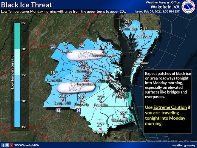 This image from the National Weather Service office in Wakefield shows the potential for icy conditions across the area Sunday night into Monday morning.
