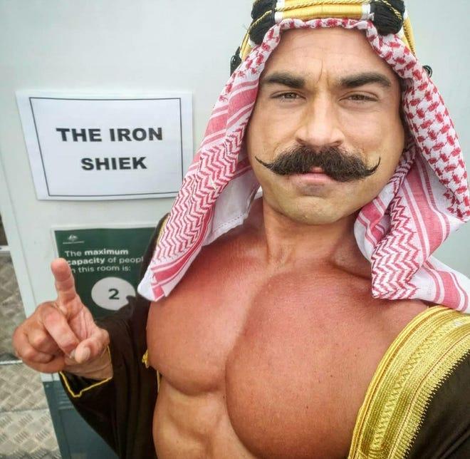 Barrington's Brett Azar as wrestler The Iron Sheik.