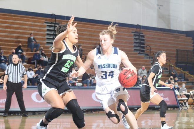 Washburn's Lauren Cassaday drives past a defender during Saturday's game against Northeastern State at Lee Arena in Topeka. Cassaday scored 15 points off the bench in the Ichabods' 76-66 victory.