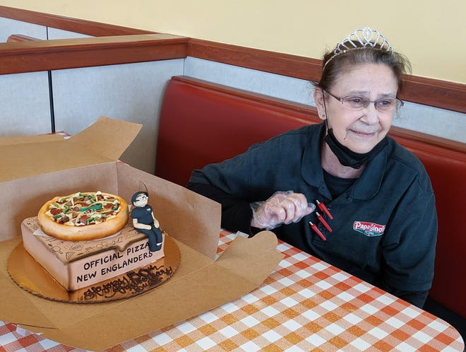 """Beth """"Buffi"""" Jackson recently celebrated her 50th work anniversary at the Papa Gino's located in the Lincoln Plaza in Worcester."""