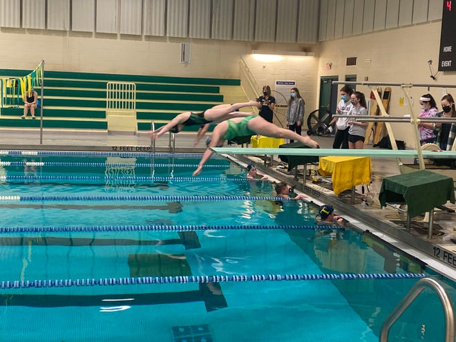 Tantasqua swimmers compete virtually against Algonquin in a meet earlier this month.
