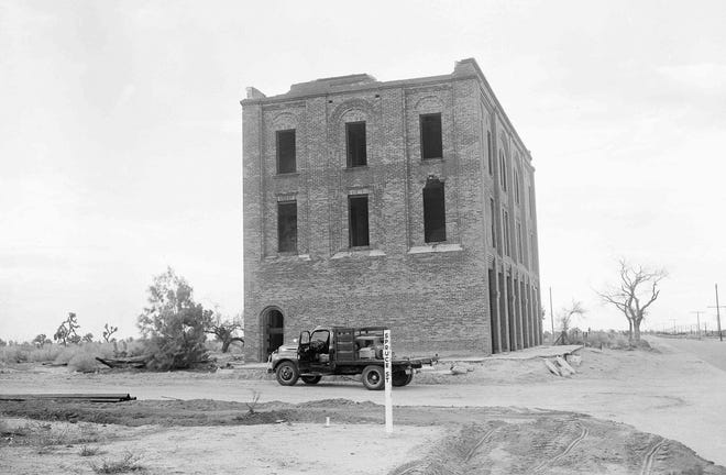 The Hesperia Hotel sits abandoned in February 1955.