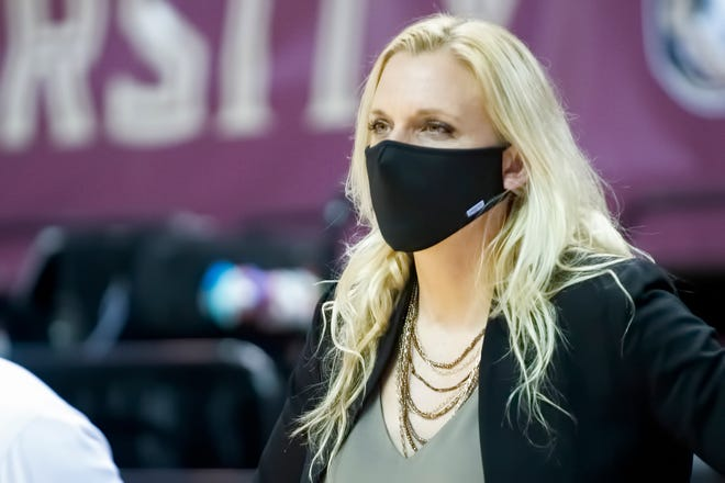 FSU interim head coach Brooke Wyckoff looks on during the Seminoles' 69-51 victory at the Donald L. Tucker Civic Center in Tallahassee, FL., on Dec. 13, 2020.