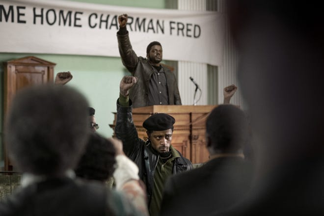 """(Center front-back) Lakeith Stanfield as William O'Neal and Daniel Kaluuya as Chairman Fred Hampton in Warner Bros. Pictures' """"Judas and the Black Messiah,"""" a Warner Bros. Pictures release."""
