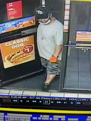 Investigators are looking for the man, a suspect in a knifepoint robbery at a San Carlos Park Boulevard convenience store Saturday morning.