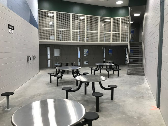 A cellblock in the new Delaware County jail, where more than 230 inmates were transferred last week.