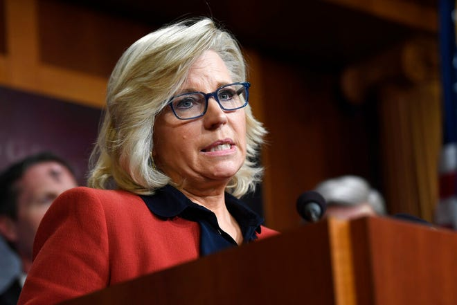 FILE - In this March 6, 2019, file photo, Rep. Liz Cheney, R-Wyo., speaks during a news conference on Capitol Hill in Washington. The Wyoming Republican Party voted overwhelmingly Saturday, Feb. 6, 2021 to censure U.S. Rep. Liz Cheney for voting to impeach President Donald Trump for his role in the Jan. 6 riot at the U.S. Capitol. (AP Photo/Susan Walsh, File)