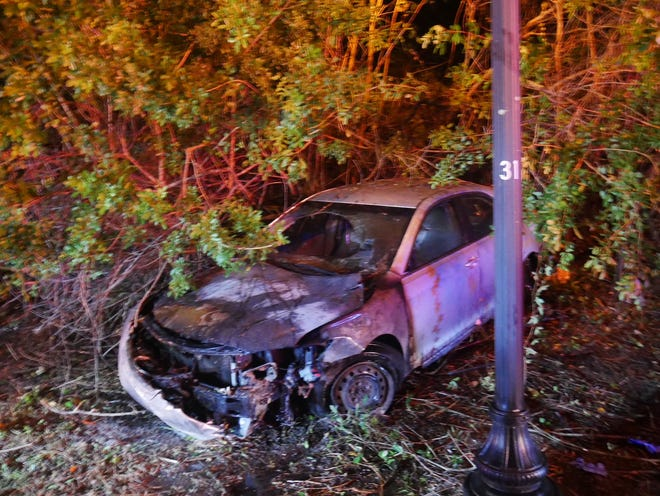 A Sunday morning fiery crash in Port St. Lucie ended with the vehicle's driver in jail, according to police officials.