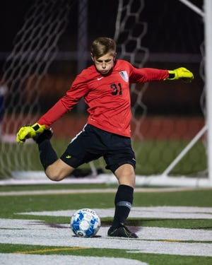Vandegrift goalie Conner Hehman, kicking the ball in a game against Stony Point, trained at the U.S. Soccer Development Academy when he was 12. Last year he helped the Vipers win the district title.